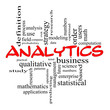 Analytics Word Cloud Concept in Red scribbles