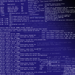 Abstract html code design on a gradient dark blue background