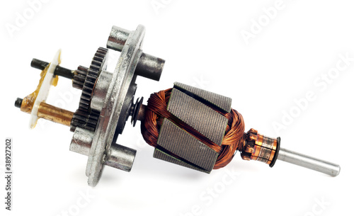 Electric motor rotor isolated on white