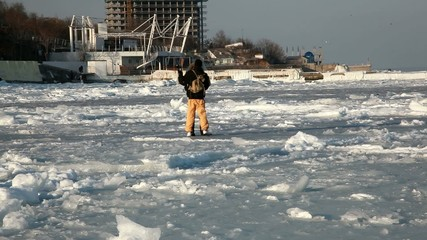 A Couple Is Dancing on the Frozen Black Sea