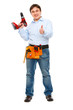 Portrait of construction worker with drill showing  thumbs up