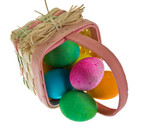 Easter basket spilling dyed eggs poster