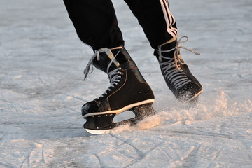 Closeup aggressive ice skating
