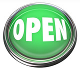 Open Round Green Button Opening Business or Press to Start