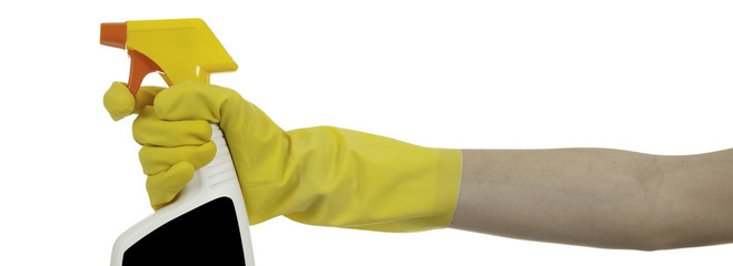 Gloved hand with spray bottle