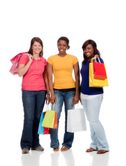 Group of Young Ladies/friends with Shopping bags on white
