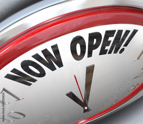Now Open Clock Announcing Grand Opening