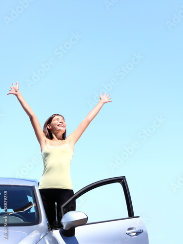 Car woman happy freedom