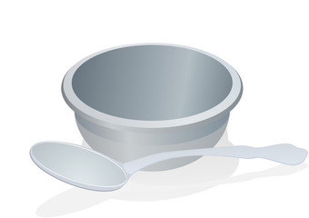 A cup and spoon