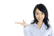 young happy smiling businesswoman gesturing