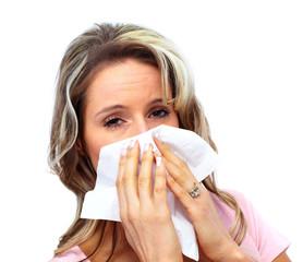 Woman having cold.