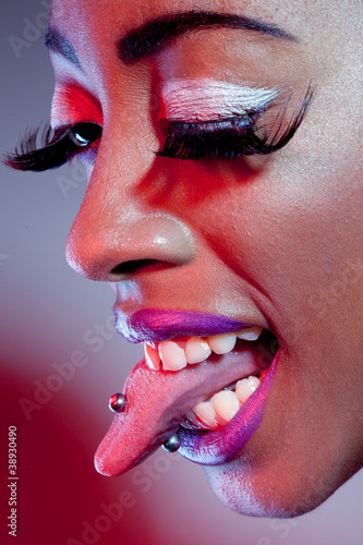 African Model With Tongue Piercing