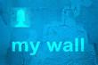 Réseau social, style tag mur bleu