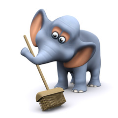 3d Elephant sweeps with his broom
