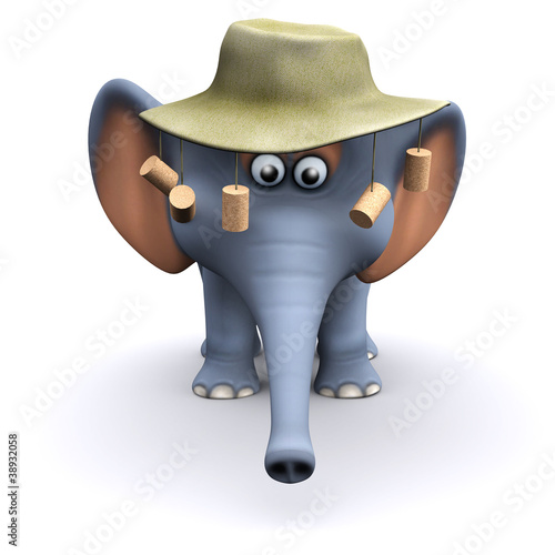 3d Elephant in Australia with cork hat