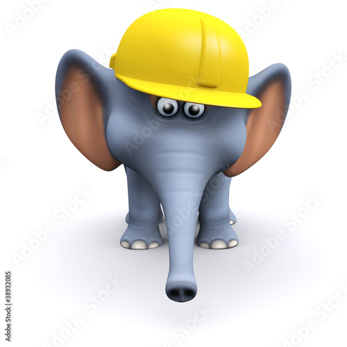 3d Elephant construction worker in hard hat.