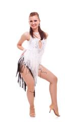 young latino woman dancer posing on white