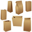 Realistic brown paper lunch bags set on white