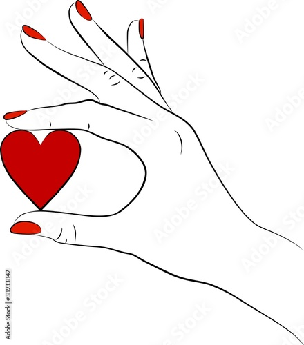 woman hand with a red heart
