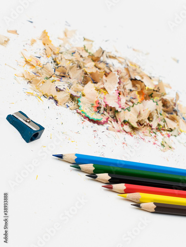 Sharpened pencil and wood shavings