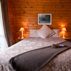 Lodge bedroom interior detail