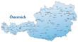 Landkarte von Österreich in blau