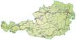 Landkarte von Österreich mit Verkehrsnetz in gruen.