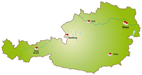 Landkarte von Österreich als Internetkarte