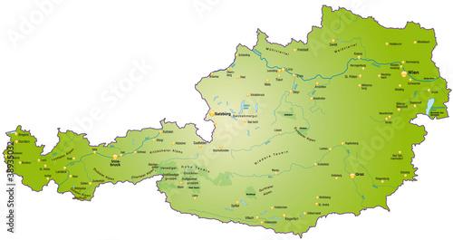 Landkarte von Österreich als Übersichtskarte