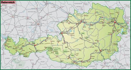 Landkarte von Österreich mit Verkehrsnetz in gruen