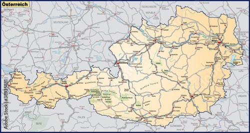 Landkarte von Österreich mit Verkehrsnetz in orange