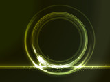 Round placeholder with green light effects poster