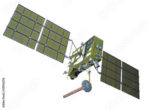 Modern navigation satellite isolated on white