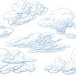 Hand drawn clouds seamless pattern