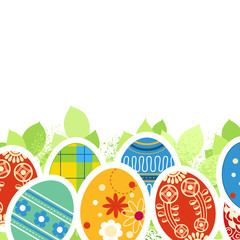 Ornate Easter eggs and green leaves border