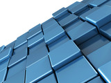 Abstract blue shiny cubes background