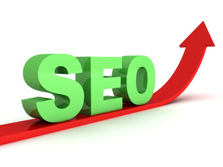 green seo text on red grow up arrow