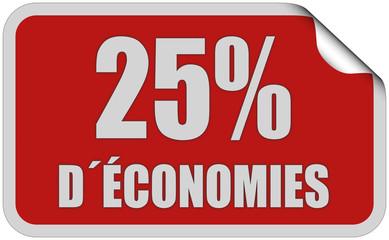 Sticker rot eckig curl oben 25% D´ÉCONOMIES