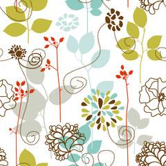 Spring plants seamless pattern