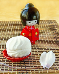 White day. Zephyr and doll in the Japanese kimono