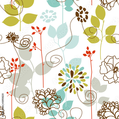 In de dag Abstract bloemen Spring plants seamless pattern