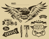 Vintage eagle and auto-moto parts