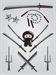 Collection of ninja weapon with cute ninja with katana