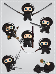 Collection of cute cartoon ninja warriors with various weapon