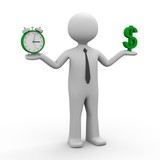 3d männchen balance zwischen Zeit und Geld (Dollar)
