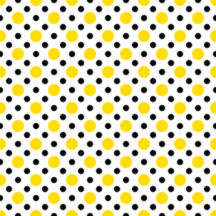 Yellow & Black Polka Dots on White Background Wallpaper