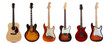 Leinwanddruck Bild - Group of six guitars on white background