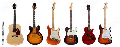 Staande foto Muziekwinkel Group of six guitars on white background