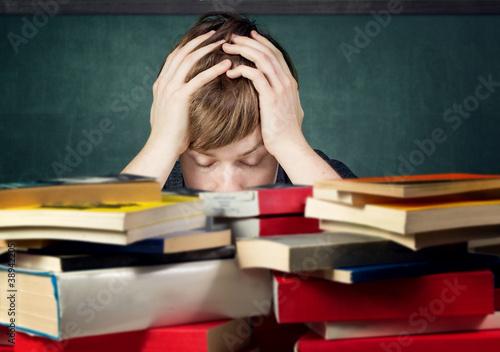 Leinwanddruck Bild Stressed Student