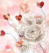 bellissima cartolina con rose disegnate a mano e cuori